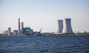 The Dynegy coal burning power plant at Brayton Point in Somerset, MA from across the Taunton River. (Jesse Costa/WBUR)