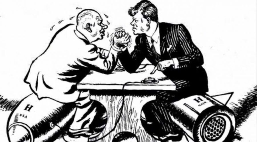 A picture of Kennedy Arm wrestling Khruschev.