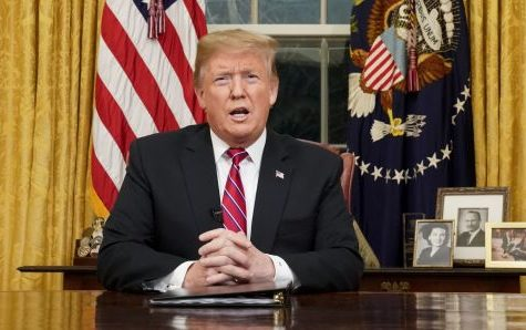 President Trump addresses the nation in an Oval Office speech on January 8, 2019.