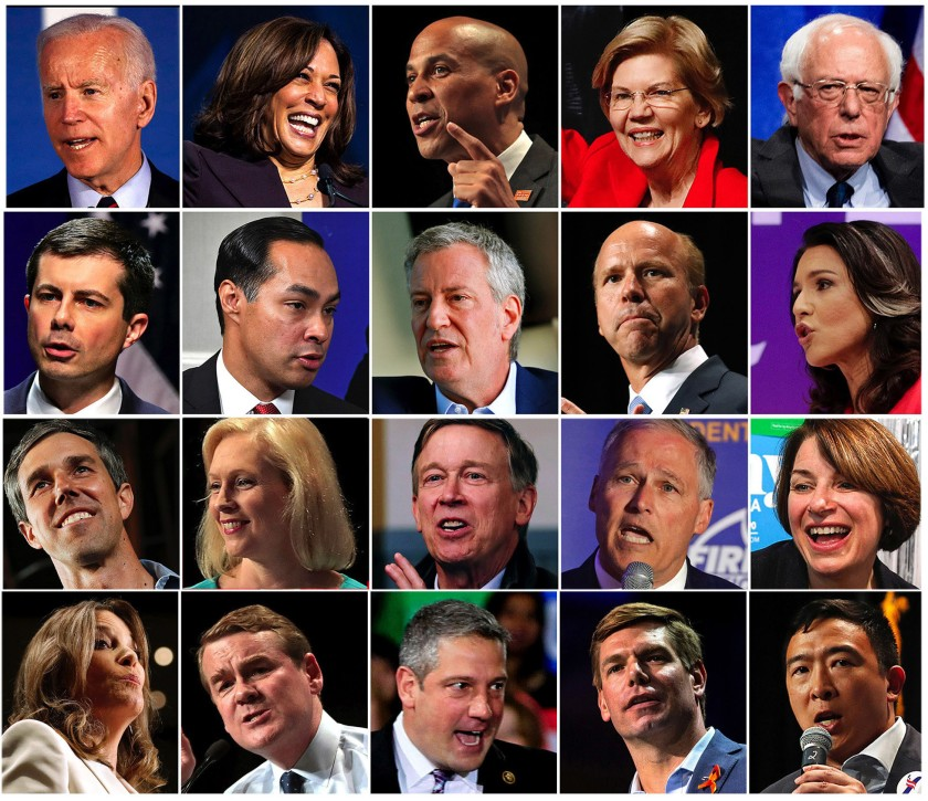 The twenty Democratic candidates that appeared in the first debate in Miami.