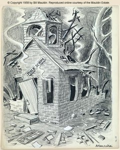 An old political comic depicting a vandalized school house
